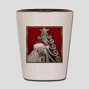 Christmas shar pei Shot Glass