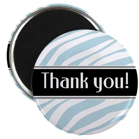 Blue Zebra Print Thank You Magnet