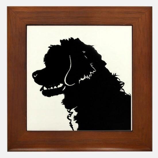 Portuguese Water Dog Head Framed Tile