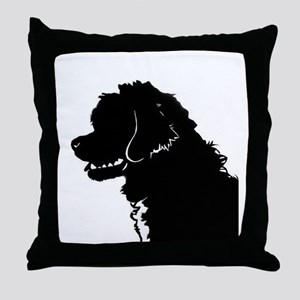 Portuguese Water Dog Head Throw Pillow