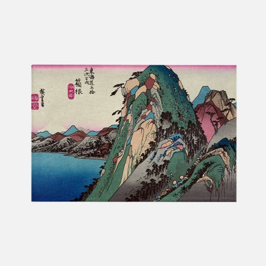 Hakone - Hiroshige Ando - 1833 - woodcut Magnets