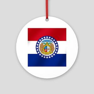 Missouri State Flag Round Ornament