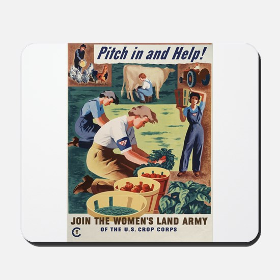 WWII POSTER PITCH IN AND HELP! Mousepad
