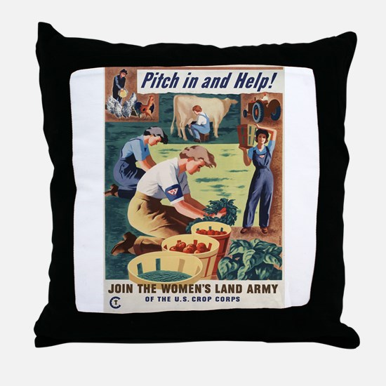 WWII POSTER PITCH IN AND HELP! Throw Pillow