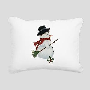 Country Snowman Rectangular Canvas Pillow