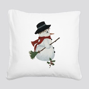 Country Snowman Square Canvas Pillow