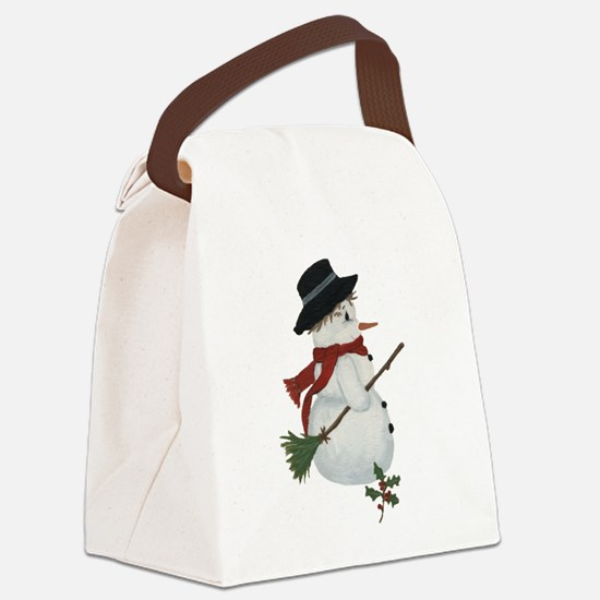 Country Snowman Canvas Lunch Bag