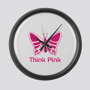 pink butterfly Large Wall Clock