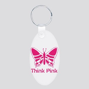 pink butterfly Aluminum Oval Keychain