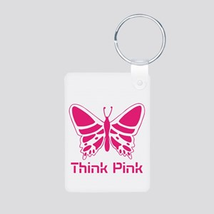 pink butterfly Aluminum Photo Keychain