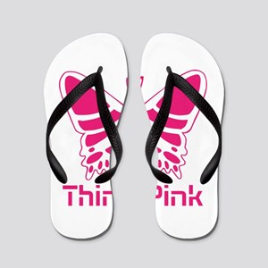 pink butterfly Flip Flops