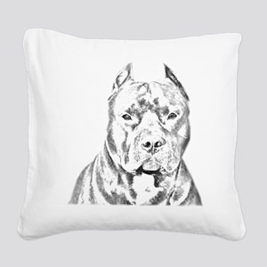 Pit Bull Negative Square Canvas Pillow