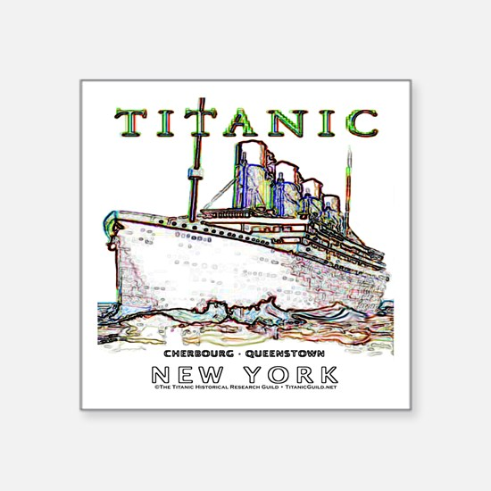 """Titanic Neon (white) Square Sticker 3"""" x 3"""""""