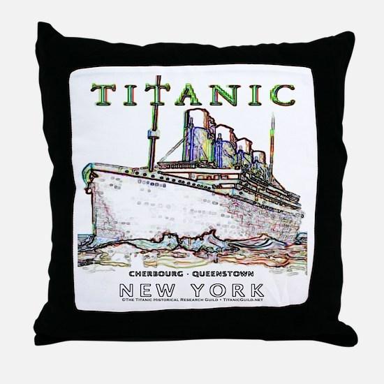 Titanic Neon (white) Throw Pillow
