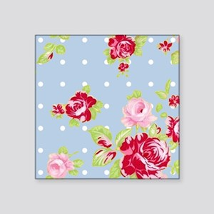 """Roses On Blue Square Sticker 3"""" x 3"""""""