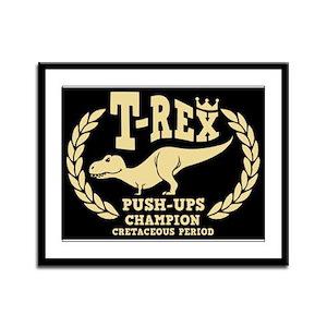 T-Rex Loves Push-ups Framed Panel Print
