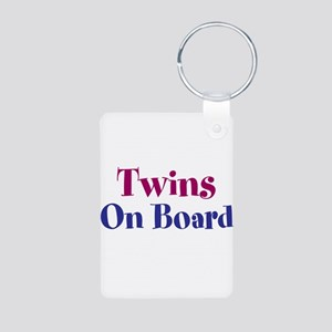 Twins On Board Aluminum Photo Keychain