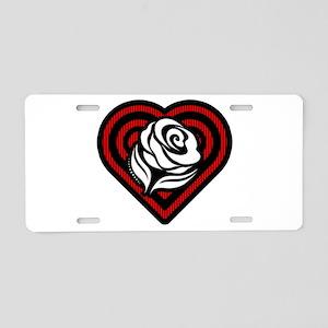 Flower Heart Aluminum License Plate