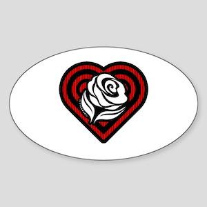 Flower Heart Sticker (Oval)