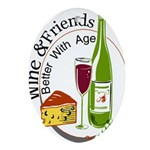 Wine and Freiends 2 t Ornament (Oval)