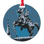 Jackson Horse Blue Round Ornament