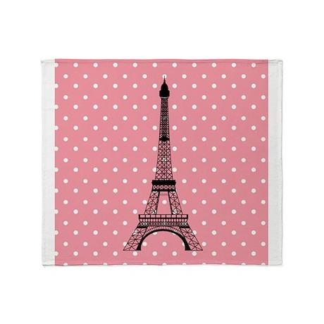 Pink Polka Dot Paris Eiffel Tower Throw Blanket