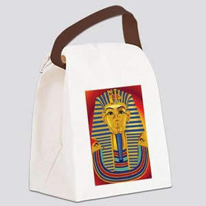 Tut Mask on Red Canvas Lunch Bag
