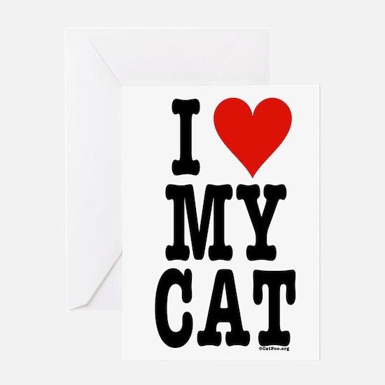 I Heart My Cat (White) Greeting Card