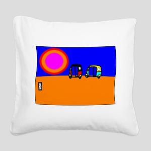 TUK TUKS AT SUNSET Square Canvas Pillow