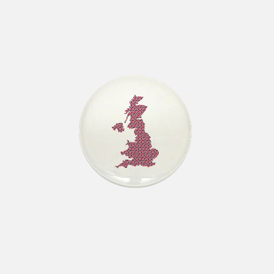 Map of England in Union Jack Pattern Mini Button