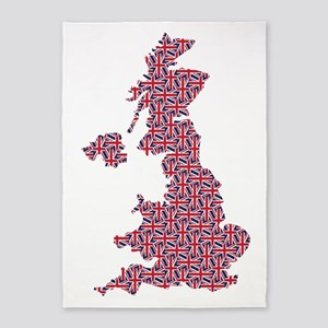 Map of England in Union Jack Pattern 5'x7'Area Rug