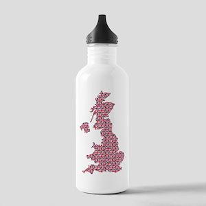 Map of England in Union Jack Pattern Water Bottle