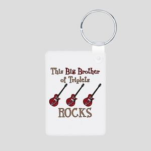 Big Bro Rocks Triplets Aluminum Photo Keychain
