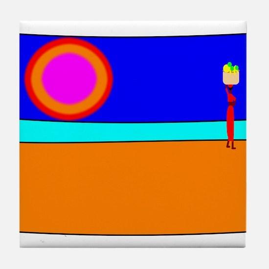 Sunset Fruit Seller Tile Coaster