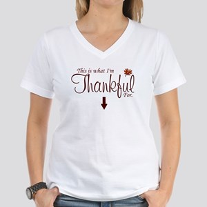 Thankful Maternity2 Women's V-Neck T-Shirt