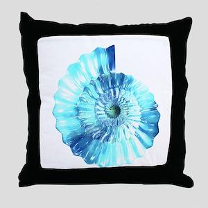 Blue Ammonite Throw Pillow