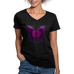 Deep Butterfly Women's V-Neck Dark T-Shirt