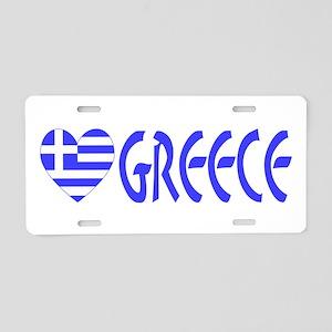 Greece Heart Flag Word Bumper Sized Aluminum Licen