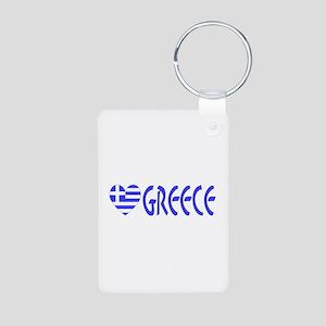 Greece Heart Flag Word Small Aluminum Photo Keycha