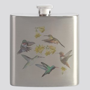 HUMMINGBIRDS AND TRUMPET PLANT Flask