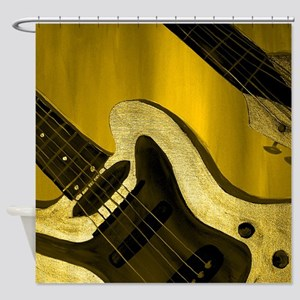 Yellow Tint Abstract Guitar Shower Curtain
