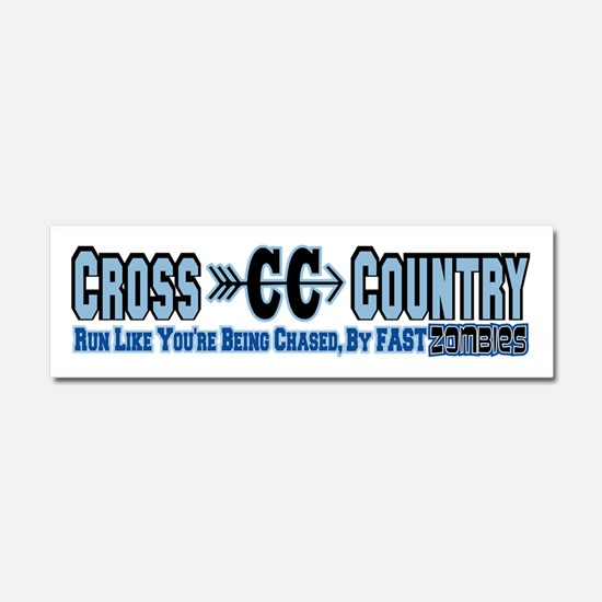 Cross Country Zombies Chasing Car Magnet 10 x 3