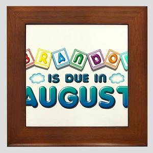 Brandon is Due in August Framed Tile