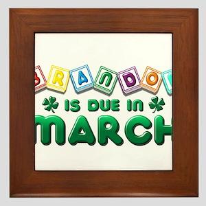 Brandon is Due in March Framed Tile
