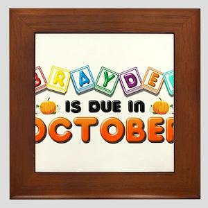 Brayden is Due in October Framed Tile