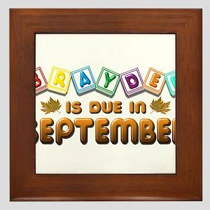 Brayden is Due in September Framed Tile