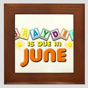 Brayden is Due in June Framed Tile