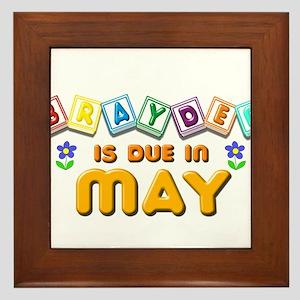 Brayden is Due in May Framed Tile