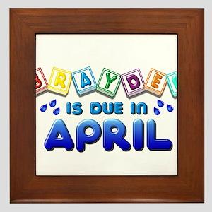 Brayden is Due in April Framed Tile