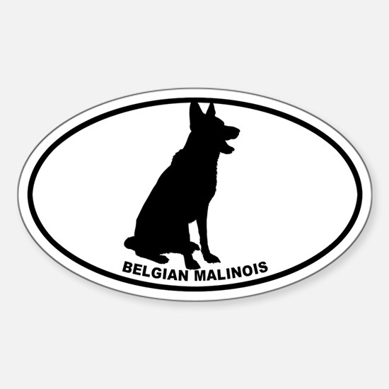 Belgian Malinois BW Sticker (Oval)